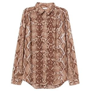 H&M Beige Snake Print Button Down Shirt Sz 12 NWT